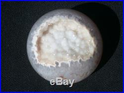 1.89 AGATE GEODE SPHERE With NATURAL DRUZY QUARTZ CRYSTAL BALL BRAZIL 48 mm