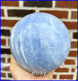1 Pc 8.075 Lb Blue Calcite Sphere Crystal Ball 130mm Natural Energy Healing