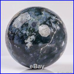 1004g 90mm Large Natural Moss Agate Geode Crystal Sphere Healing Ball Chakra