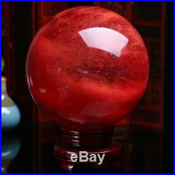 100MM+Stand Red Melting Sphere Quartz Crystal Ball Reiki Healing Home Decoration