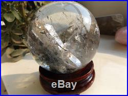 100mmRARE NATURALstone inside Stone quartz crystal sphere ball healing&ghost