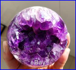 1044g Natural Amethyst & Agate Crystal Open The Mouth Smile Sphere BALL W2525
