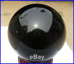 10450g Large nature black obsidian crystal gemstone sphere ball reiki + stand