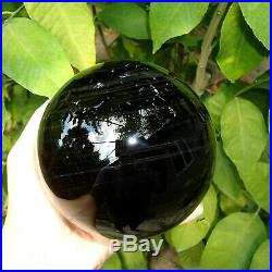 105mm BLACK MULTI OBSIDIAN SPHERE MARBLE FLAWLESS MAGIC BALL WITH