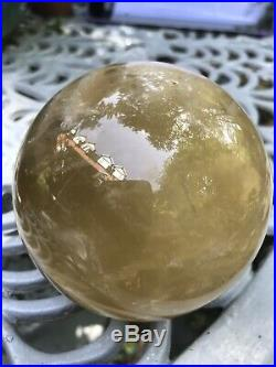1106g Huge Citrine/Smoky Crystal Ball 94mm Diameter With Stand 2