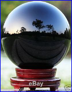 110MM+stand Natural Black Obsidian Sphere Large Crystal Ball Healing Stone