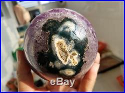 1121g Natural Amethyst & Agate Crystal Open The Mouth Smile Sphere BALL W2526