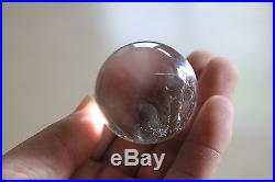112g 43mm Natural BLUE Ghost Clear Quartz Crystal Sphere Ball Angel's Feather