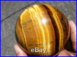 1171g 88mm Natural Golden Tigers Eye Crystal Sphere Ball Healing China W1579