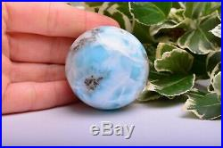 118g 43mm LARIMAR Sphere Ball Dolphin Stone Natural Crystal Mineral DLL842