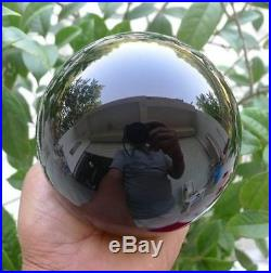 120MM+stand- Hot Natural Black Obsidian Sphere Large Crystal Ball Healing Stone
