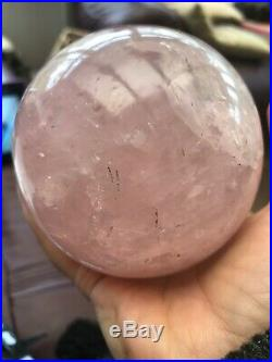 1271g Huge Madagascan Deep Pink Rose Quartz Sphere/Ball 96mm AAA+ With Stand 1
