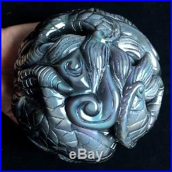 127mm NATURAL Unique rainbow OBSIDIAN CARVING POLISHED SPHERE BALL DRAGON