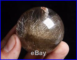 128.4g 44mm NATURAL RUTILATED Stone Inside Stone CRYSTAL SPHERE BALL+ Rainbow