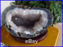 14.25lb Amethyst AGATE Quartz Crystal Geode Sphere Ball from Brazil +STAND 6464g