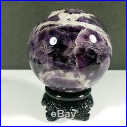 1481g NATURAL Dream Amethyst Crystal sphere ball Orb Gem Stone with Stand A2308