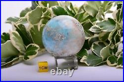 152g 46mm LARIMAR Sphere Ball Dolphin Stone Natural Crystal Mineral DLL839