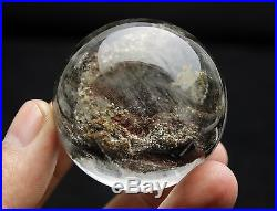 162.2g 46mm RARE NATURAL RUTILATED GREEN RED GHOST QUARTZ CRYSTAL SPHERE BALL