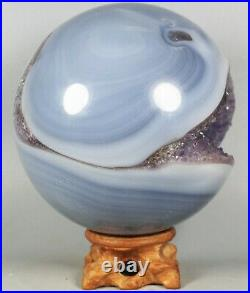 1930g NATURAL AMETHYST GEODE & AGATE SPHERE BALL REIKI withRosewood Stand BRAZIL