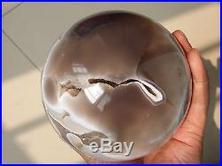1953g Natural Amethyst & Agate Crystal Sphere Ball Shark's mouth teethW2177