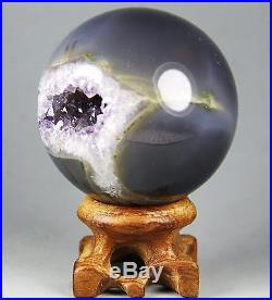 2.24 NATURAL AMETHYST GEODE & AGATE SPHERE BALL REIKI withRosewood Stand BRAZIL
