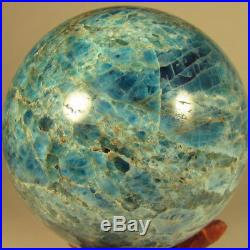 2.5 BLUE APATITE Crystal Sphere Ball with Stand Madagascar 65mm 1 lb