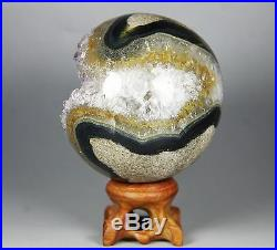2.5 NATURAL AMETHYST GEODE&AGATE SPHERE BALL REIKI withRosewood Stand