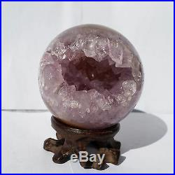 2.5 Natural Geode Amethyst Agate Sphere Ball Decor Crystal Healing Reiki/Stand