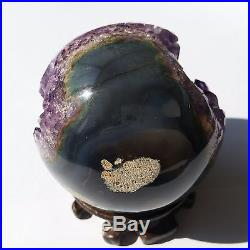2.6 Natural Geode Amethyst Agate Sphere Ball Decor Crystal Healing Reiki/Stand