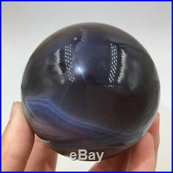 2.630.78lb Natural Geode Clear Agate Sphere Ball Decor Crystal Healing H146