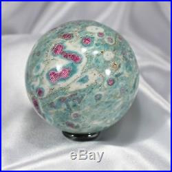 2.9 74mm Ruby in Fuchsite Sphere Red & Blue-Green Crystal Ball India