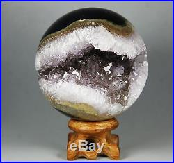 2.9 NATURAL AMETHYST GEODE&AGATE SPHERE BALL REIKI withRosewood Stand