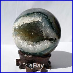 2.9 NaturalGreen Ghost Agate Sphere Ball Decor Crystal Healing Reiki/Stand