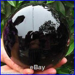 200MM+stand Natural Black Obsidian Sphere Large Crystal Ball Healing Stone