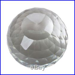 200mm D Cut Crystal Ball Sphere Clear Prism Wood Rotatable Stand 7.87