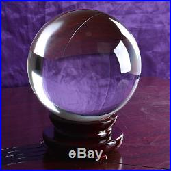 200mm Huge Asian Rare Quartz Clear Magic Crystal Healing Ball Sphere +Wood Stand