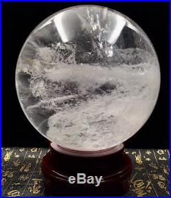 201mm NATURAL CLEAR QUARTZ CRYSTAL SPHERE BALL ranging GEMSTONE + stand