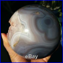 2025g Natural Amethyst & Agate Crystal Sphere Ball Shark's mouth teeth W389