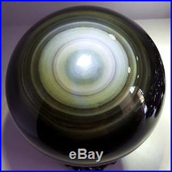 22LB A-OK moving cat's eye natural obsidian quartz crystal sphere ball +stand