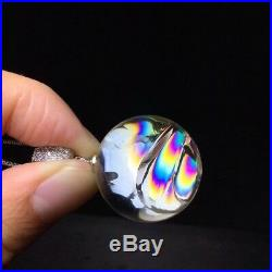 22mm Rainbow! Polished Natural Clear Sphere Ball Crystal Quartz Pendant