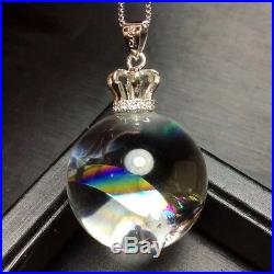 23mm Rainbow! Polished Natural Clear Sphere Ball Crystal Quartz Pendant