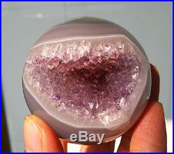 252g Natural Amethyst & Agate Crystal Open Mouth Smile Cave Sphere Ball W1945