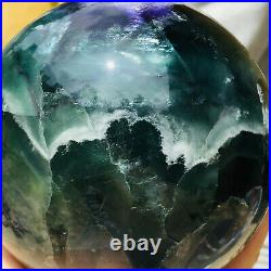 2689g Natural Clear Green Purple Fluorite Crystal Sphere Ball Mineral Healing