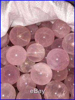 2kg 40-45mm Natural STAR Rose Quartz SPHERE BALL Crystal Specimen Healing
