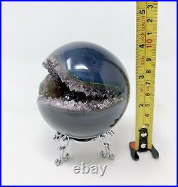 3.03 Smile Natural Gray/Blue Agate Amethyst Sphere Ball Clear Crystal #656