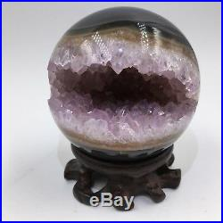 3.031.18lb Natural Geode Amethyst Agate Sphere Ball Decor Crystal Healing H144
