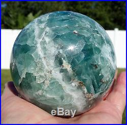 3 1/2 Inch BLUE Fluorite Crystal Sphere Ball Mexico Unique Flourite Large