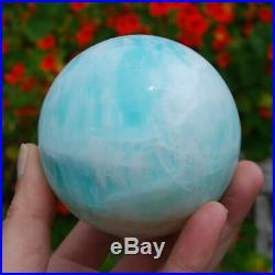 3 1.6lb Large Caribbean Blue Calcite and Aragonite Polished Crystal Sphere Ball