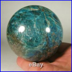 3.1 BLUE APATITE Crystal Sphere Ball with Stand Madagascar 80mm 1.9 lbs