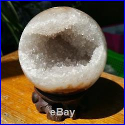 3.2 Natural Geode Amethyst Agate Sphere Ball Decor Crystal Healing Reiki/Stand